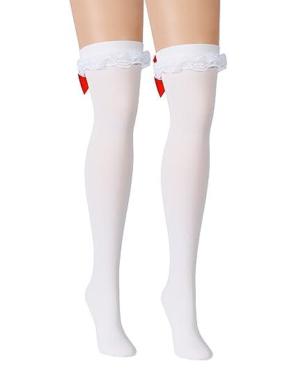 19a5906b095a4 Amazon.com: White Opaque Thigh Hi Stockings Red Hearts Back Seam ...