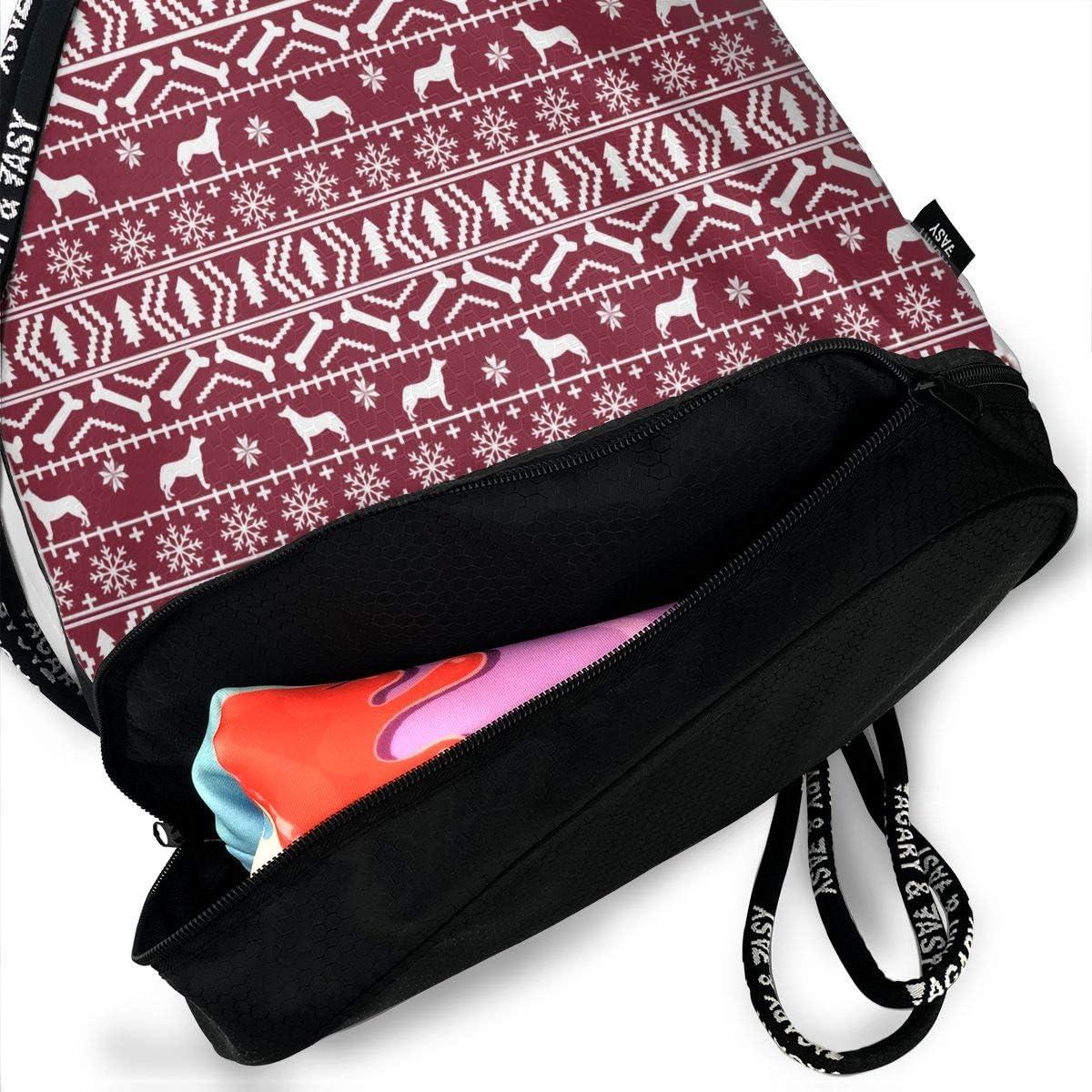 Drawstring Backpack Husky Christmas Dog Maroon Shoulder Bags