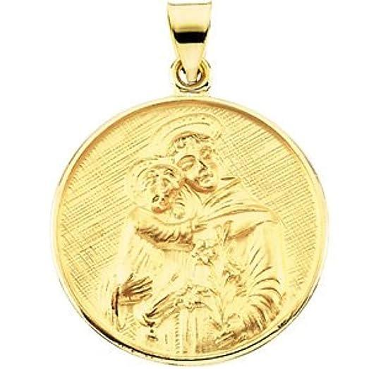 Amazon 18k yellow gold st anthony medal pendant necklaces 18k yellow gold st anthony medal aloadofball Choice Image