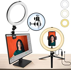 "10"" Ring Light MACTREM LED Light Ring with Tripod, Clamp & Phone Holder for YouTube Video, Makeup, Selfie, Photography, Live Streaming, Tiktok, 3 Light Modes & 10 Brightness Level (White+Yellow)"