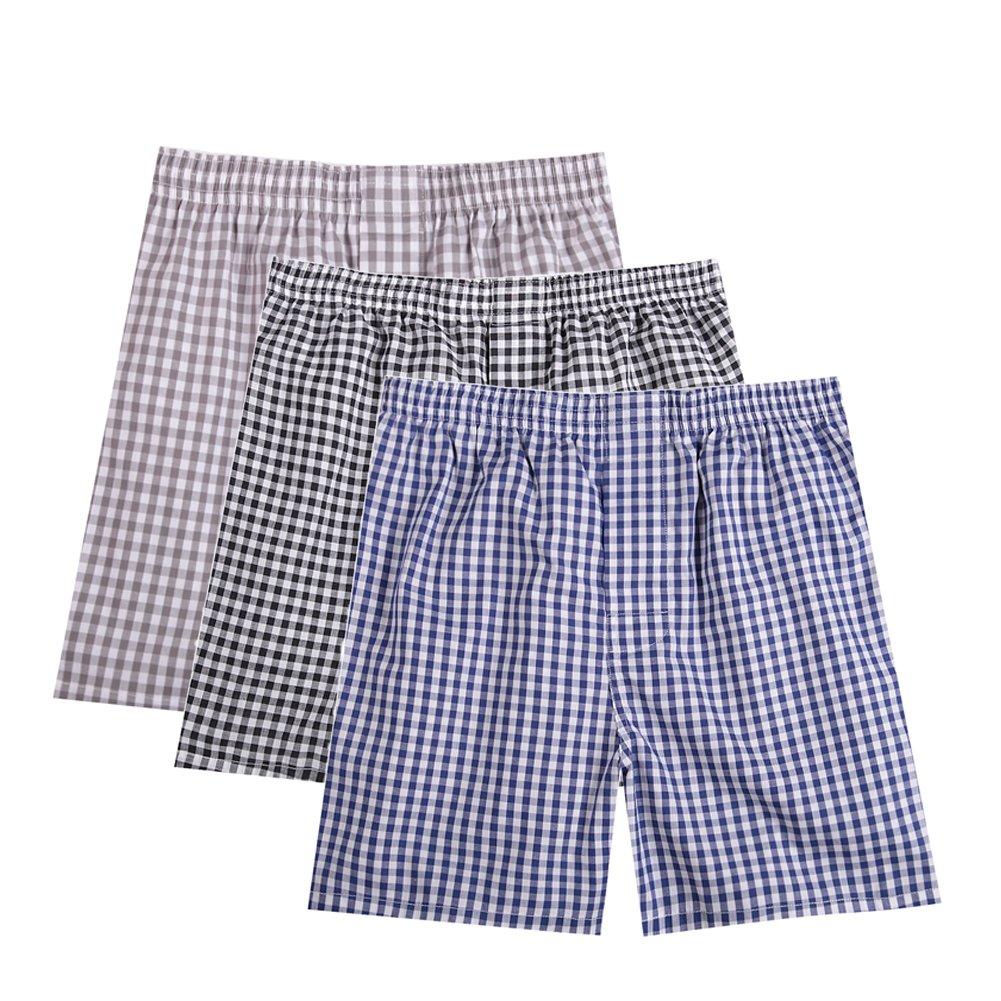 Pau1Hami1ton B-01X Men's Woven Boxer Shorts Cotton Trunks Button Plaid Briefs Checkered Underwear B-01X-1