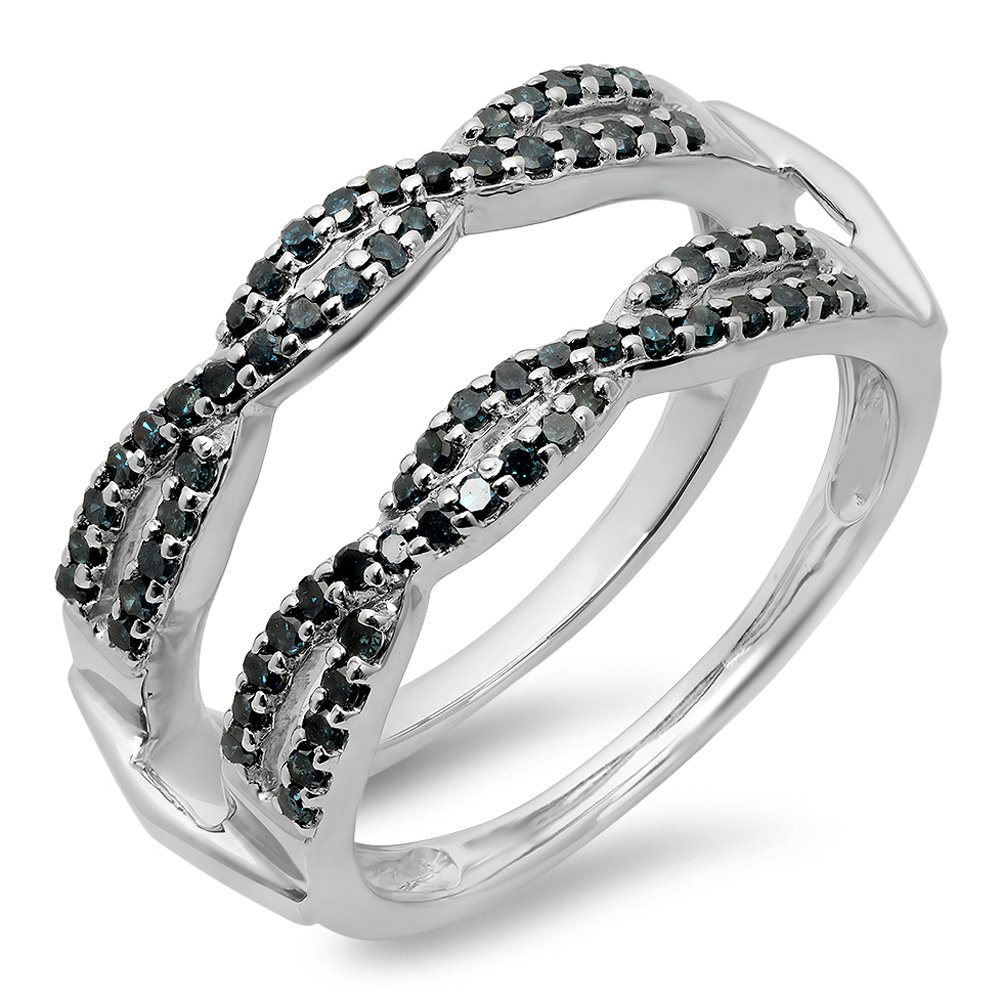 dazzlingjewelrycollection 0.60 Carat (Ctw) 14K White Gold Over .925 Sterling Silver Round Blue Diamond Ladies Swirl Style Anniversary Wedding Band Guard Double Ring