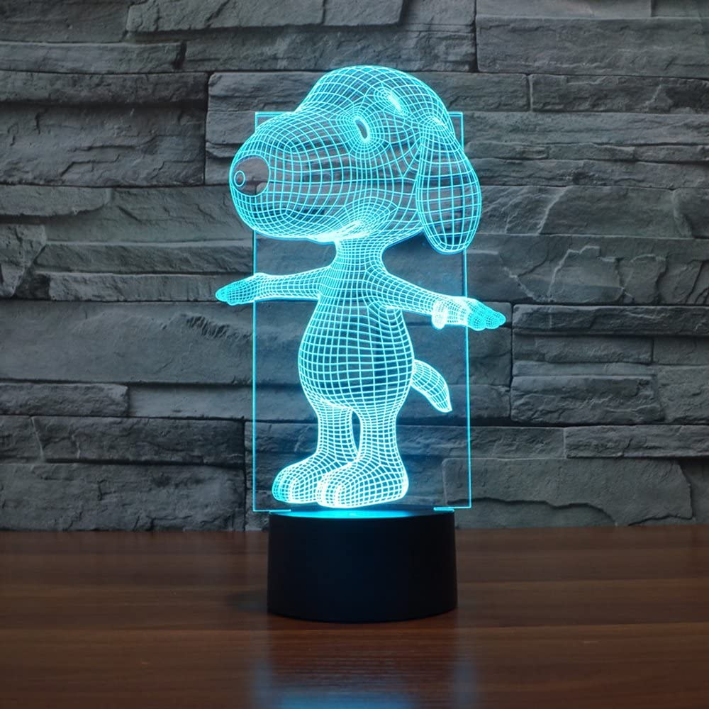 Snoopy 3D Lamp Night Light Touch Table Desk Lamps, Elstey 7 Color Changing Lights with Acrylic Flat & ABS Base & USB Charger