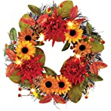 Lighted Colorful Sunflower And Mum Wreath