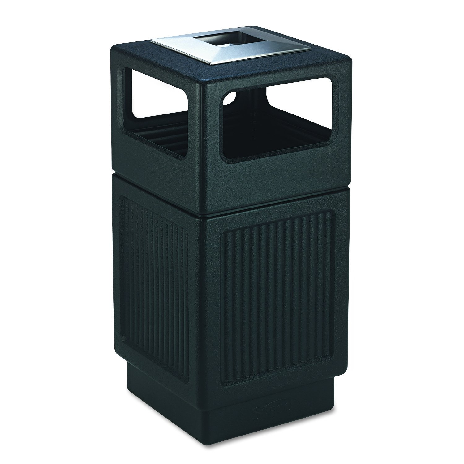 Safco 9477BL Canmeleon Ash/Trash Receptacle, Square, Polyethylene, 38gal, Textured Black