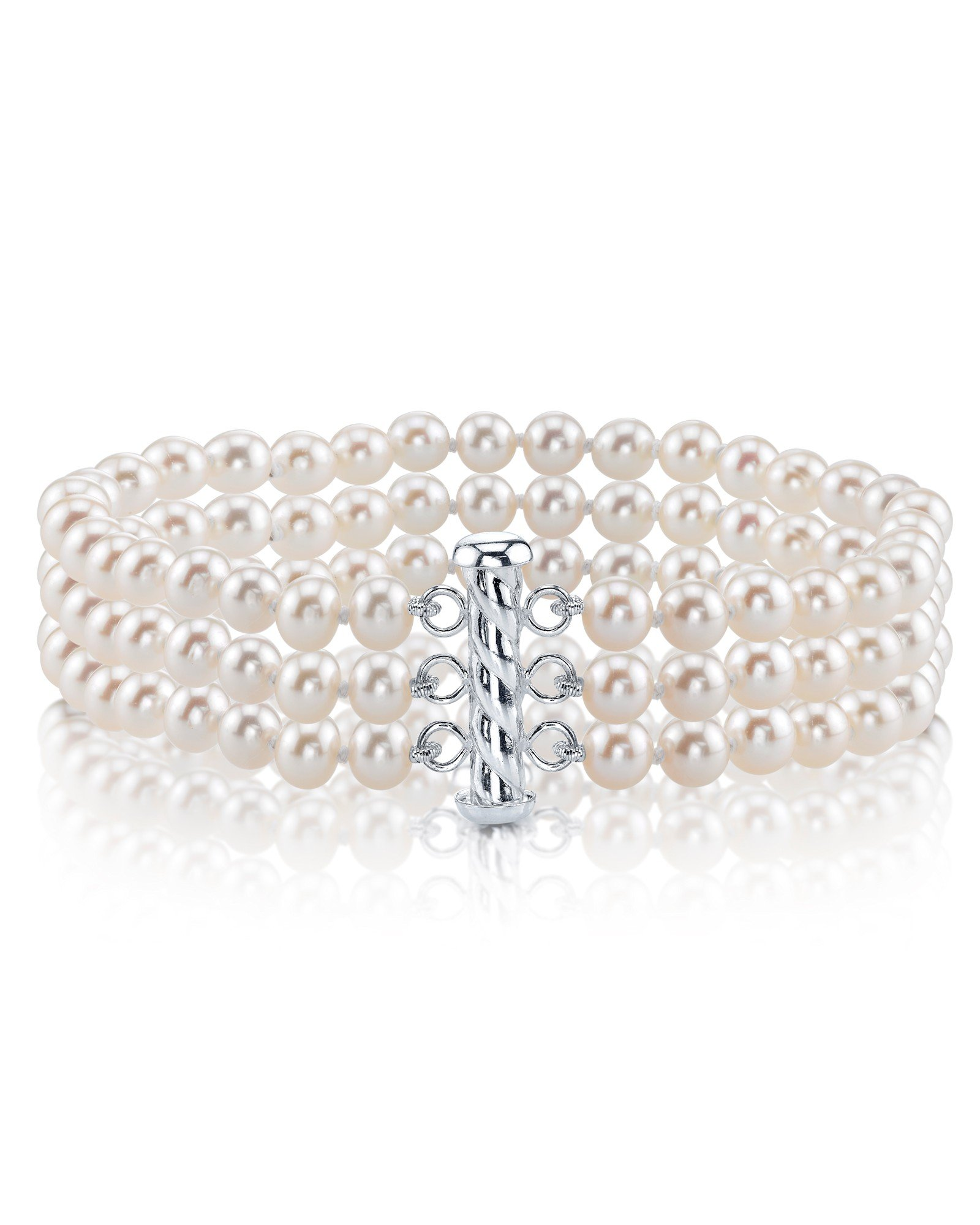 Sterling Silver Triple White Freshwater Cultured Pearl Bracelet - AAAA Quality