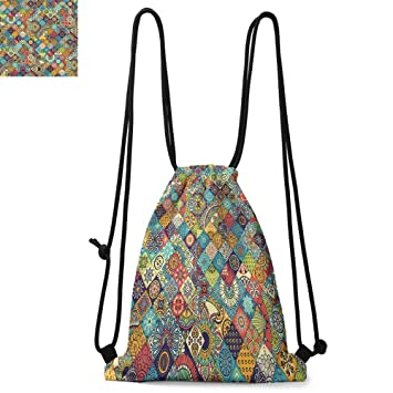 Checker Board Drawstring Backpack Sports Athletic Gym Cinch Sack String Storage Bags for Hiking Travel Beach