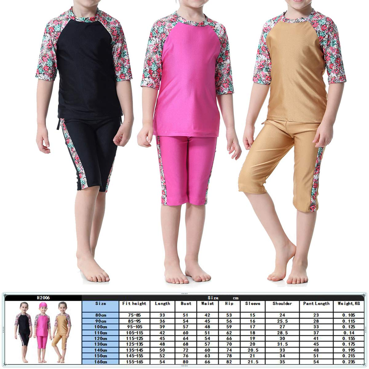Rosy 1 Pc Muslim Arab Girls Swimsuit Short-Sleeved Top and Short Suit Conservative Split Swimwear H2006 for Girls and Teens-90cm