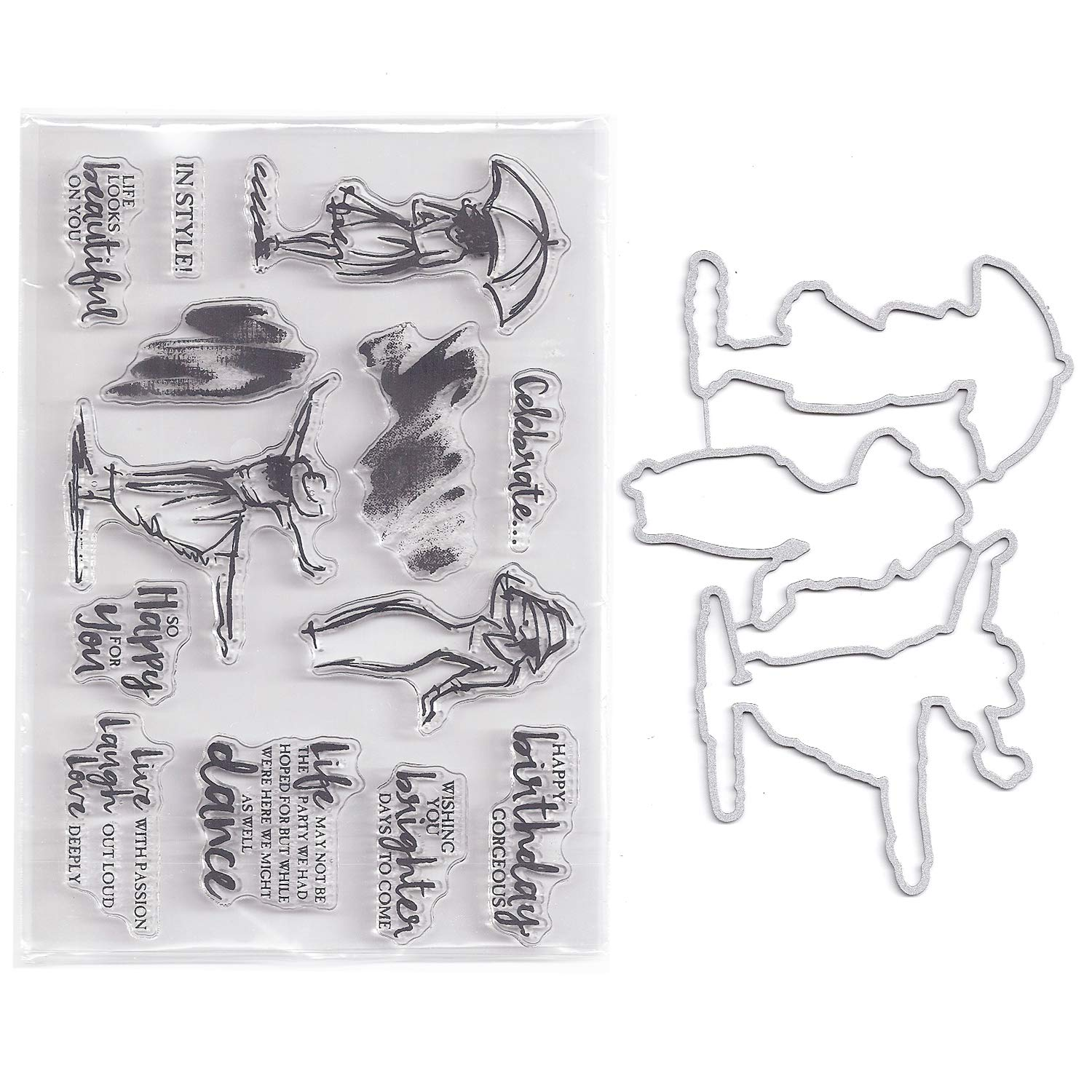 Bundle-2 Items-(1) Ea Clear Cling Stamp & Die Cut Set for Scrapbooking Card Making - Women and Umbrella Dies Stamp Stencil
