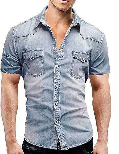 Camisas de Hombre T Shirt tee Moda Camiseta Casual de botón Slim fit con Bolsillo Blusa Manga Corta Claro tpos: Amazon.es: Ropa y accesorios