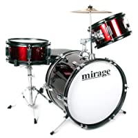 Mirage JDK 3 Piece Junior Drum Kit With Stool and Sticks - Red