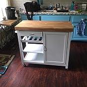 Amazon Com Baxton Studio Denver Modern Kitchen Cart Island With Butcher Block Top Natural White Kitchen Islands Carts