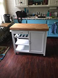 denver modern kitchen cart island with butcher block top white