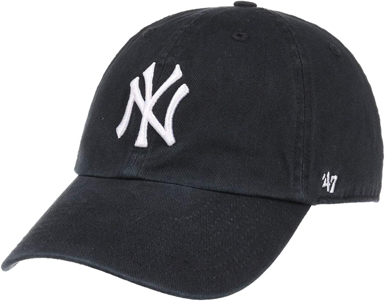 '47 MLB New York Yankees Brand Clean Up Adjustable Cap, One Size, Black : Sports Fan Baseball Caps : Clothing