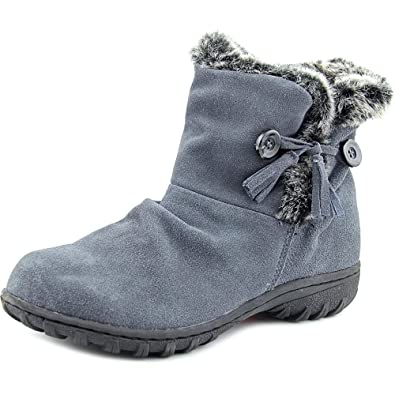 Isabella Women Round Toe Leather Gray Winter Boot
