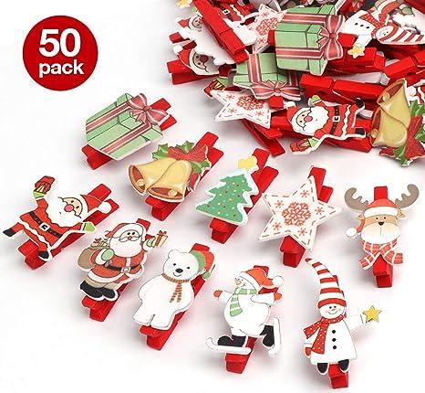 848aaaee1d3 50 Piezas Navidad Patrón Mini pinzas de madera colorido Navidad decoration  Nota Memo Navidad Patrón Accesorios