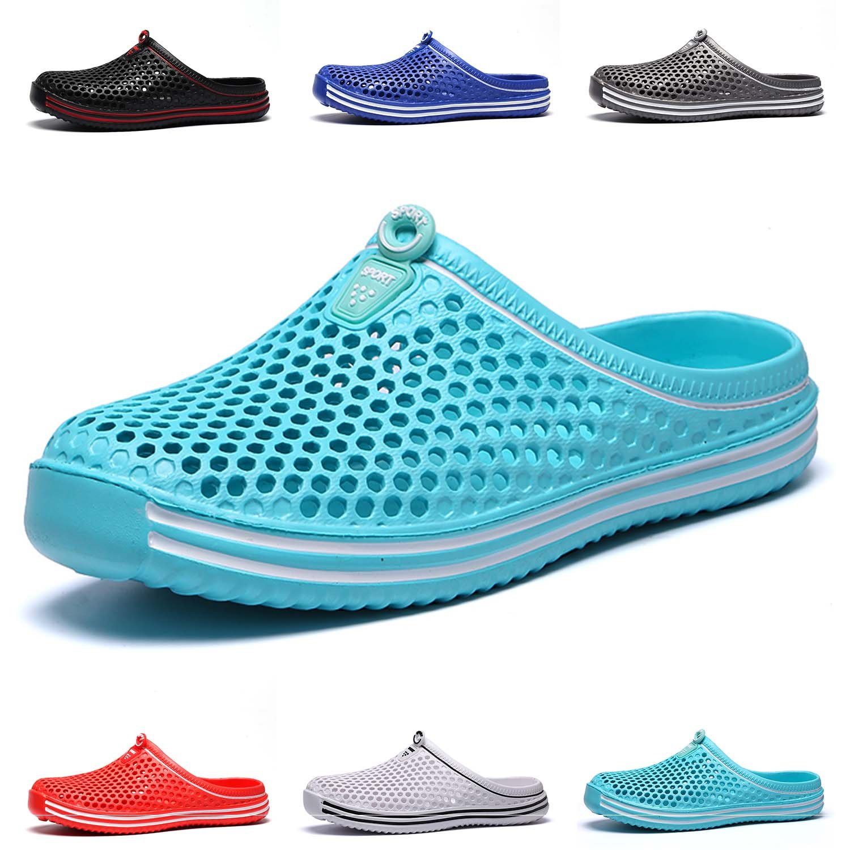 HMAIBO Garden Clogs Shoes Women's Men's Lightweight Breathable Mesh Sandals Quick Drying Beach Pool Water Shoes Anti-Slip Slippers Non-Slip Walking Footwear Cyan 38