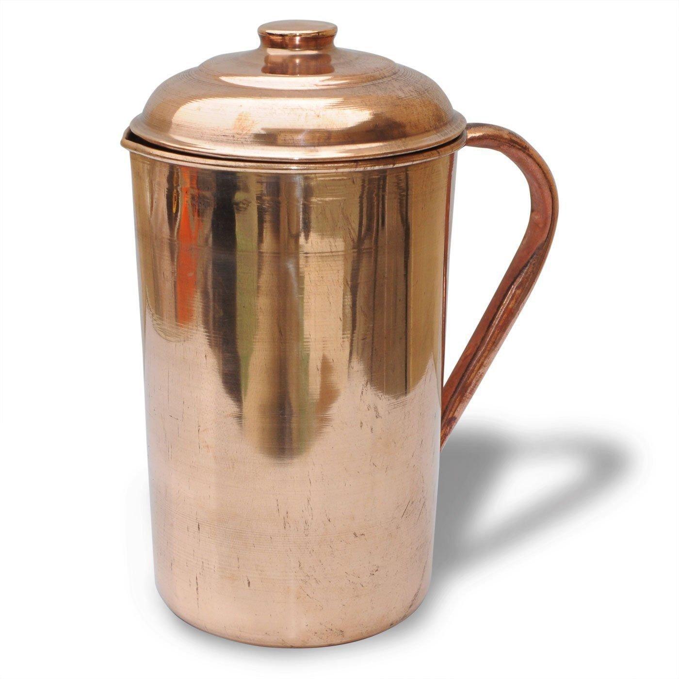 Biz2Frnds Pure Copper Pitcher (in/out) with lid cover 62 oz Jug Ayurveda Yoga Health Biz2Frnds Ayurveda