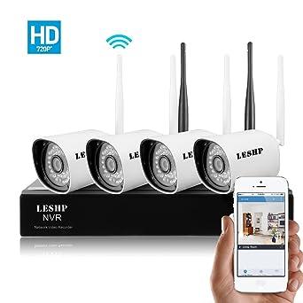 LESHP Kit Cámaras de Segurid 4CH 720P HD 2.4GHZ WiFi ad Inalámbrico Pro NVR Sistema