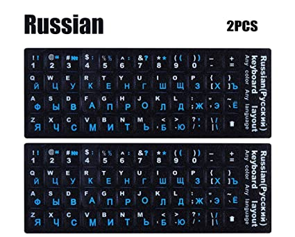 f26a9b3a27d [2PACK] Universal Russian Keyboard Stickers, Typing Keyboard Stickers  Replacement Black Background with Blue