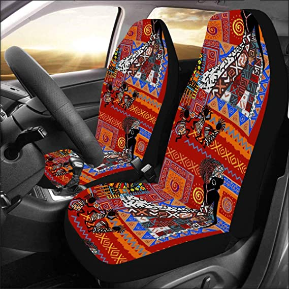 InterestPrint Universal Pink Skull Two Front Car Seat Covers Set 100/% Breathable