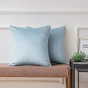Ashler Pack of 2 Soft Velvet Decorative Throw Pillow Cushion Cover Sets Light Blue 20 X 20 Inches 50 x 50 cm
