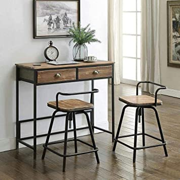 Amazon Com 4d Concepts Urban Loft Breakfast Table With Two Swivel Stools Rustic Natural Pine Chair Sets