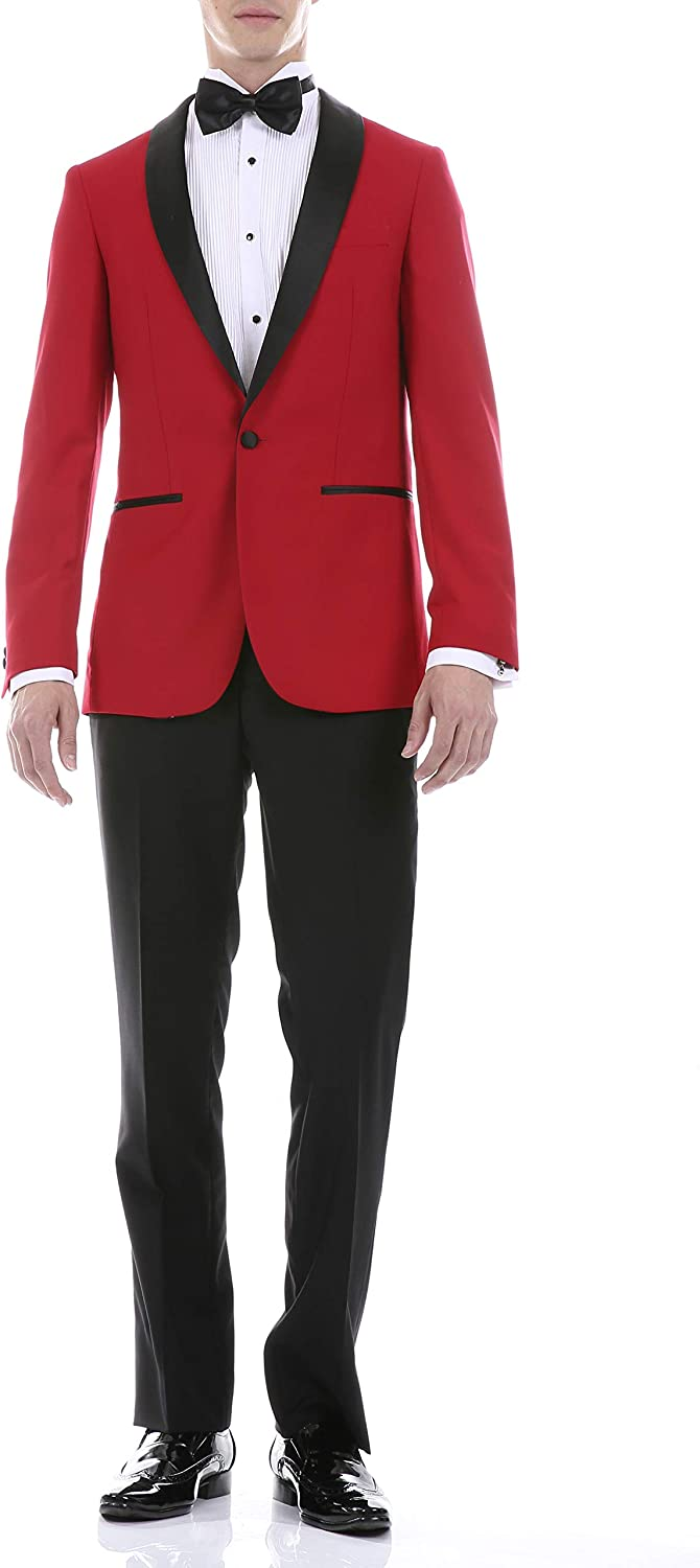 Ferrecci Men's Reno Red/Black Slim Fit Shawl Lapel Collar 2 Piece Tuxedo Suit Set - Tux Blazer Jacket and Pants (44 Long)