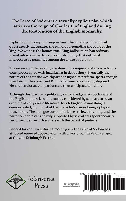 The Farce of Sodom: or the Quintessence of Debauchery (Hardcover):  Amazon.co.uk: John Wilmot: 9780359032051: Books