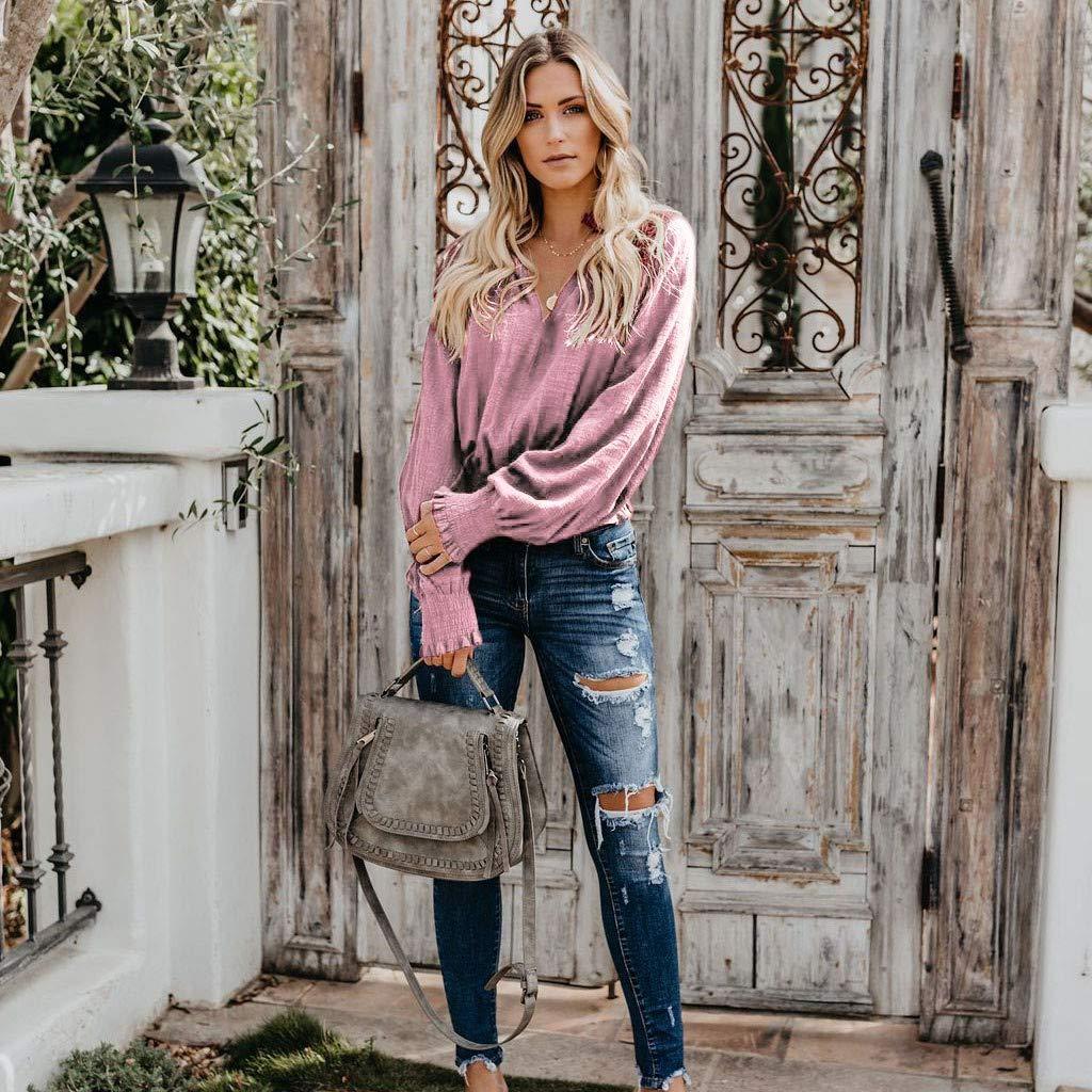 Damen Herbst Shirt Teenager M/ädchen L/ässig T/äglich Baumwolle Leinen Bluse Lose Langarm Top Shirt Tops Pullover T-Shirt