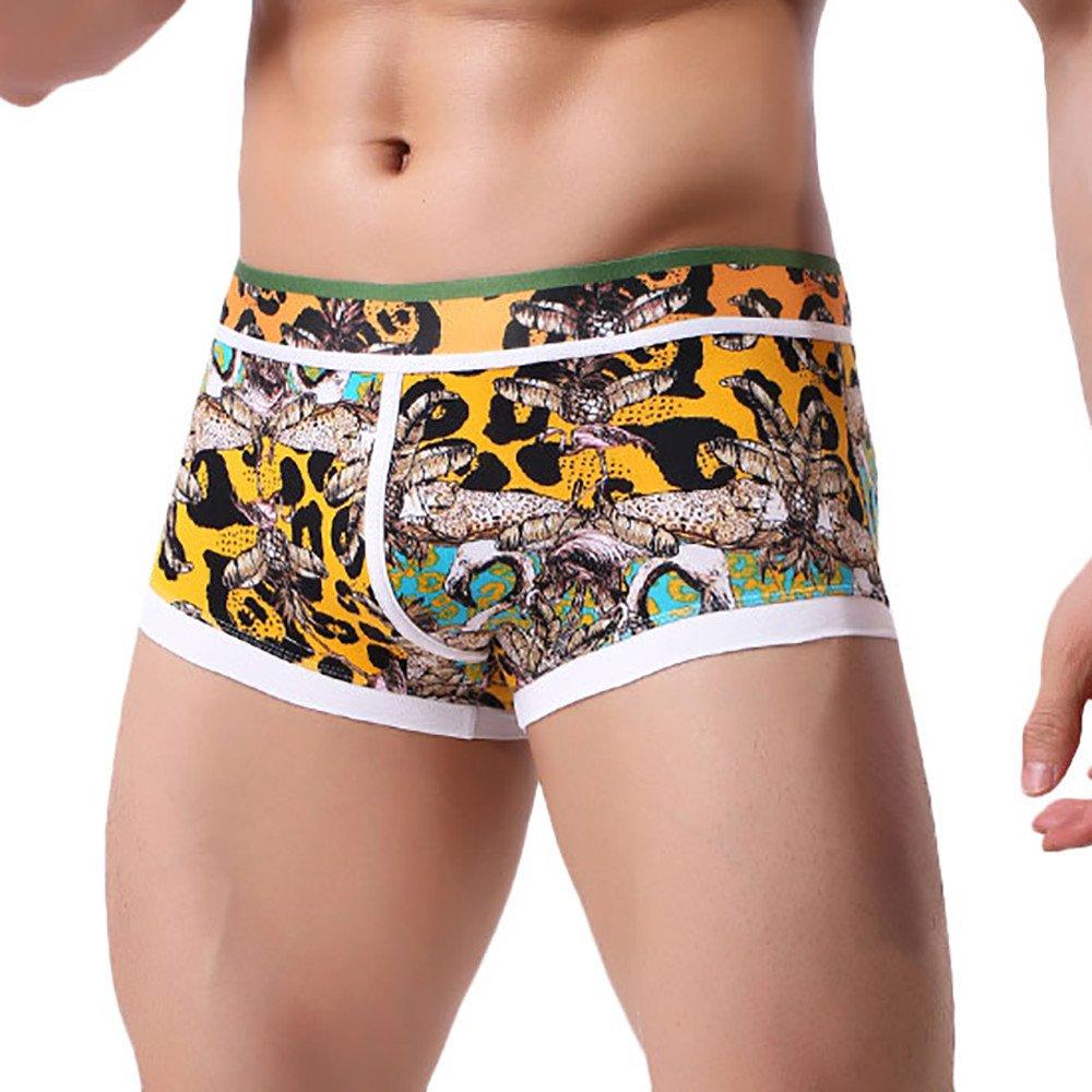 BURFLY Herren unterwäsche, Männer Patchwork Unterwäsche bequeme schweißabsorbierende Print Boxer Briefs Shorts Bulge Pouch Unterhose