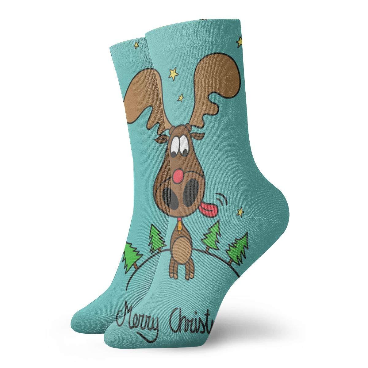 WEEDKEYCAT Setting of Cartoon Christmas Elk Adult Short Socks Cotton Funny Socks for Mens Womens Yoga Hiking Cycling Running Soccer Sports