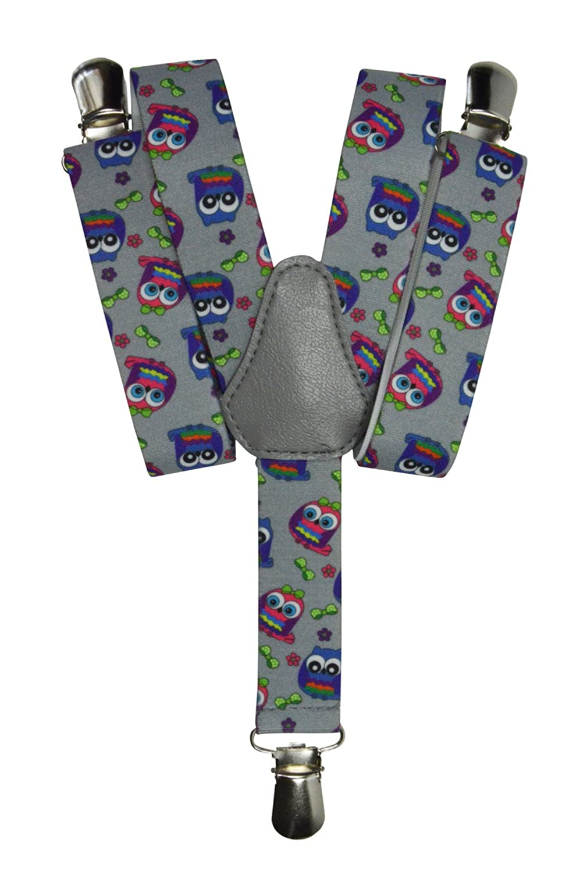 Olata Bretelle Elasticizzata per Bambini 1-5 Anni, Y' Clip design, Gufo Modello Y' Clip design Gufo Modello - Blu KIDSBRACESJowl-blue