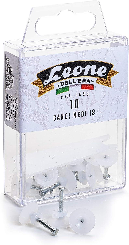 10 ganchos medianos Le/ón DellEra para colgar cuadros con clavos de acero templado Caja colgante Fabricado en Italia