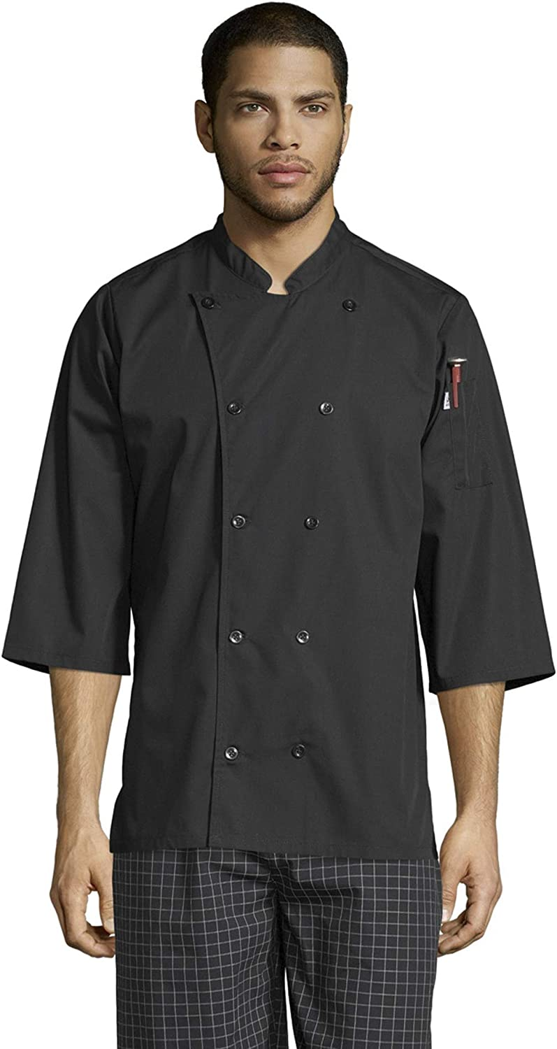 Uncommon Threads Unisex Epic 3/4 Sleeve Buttoned Chef Shirt with Vents