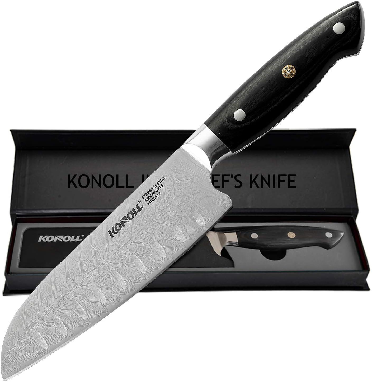 KONOLL Santoku Knife Super Sharp Kitchen Knife, 7 inch Multifunctional Asian Knife, German High Carbon Stainless Steel Cooking knife, Ergonomic Handle