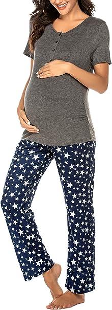 Imagen deUNibelle Ropa Premamá Lactancia Pijama Conjunto Maternidad Verano Pijama Premamá Embarazo El Pantalones Cortos S-XXL