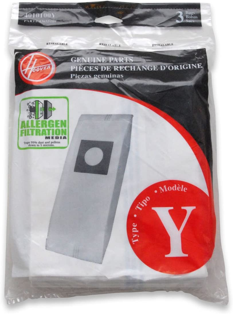 Hoover Type Y Allergen Bags, for WindTunnel Vacuum Cleaners, 3-Pack, 4010100Y, White, One Pack, 3 Count