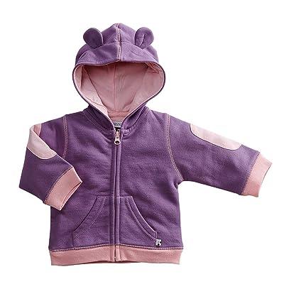 Babysoy Fleece Bunny Ear Zipper Hoodie Jacket Eggplant 3T
