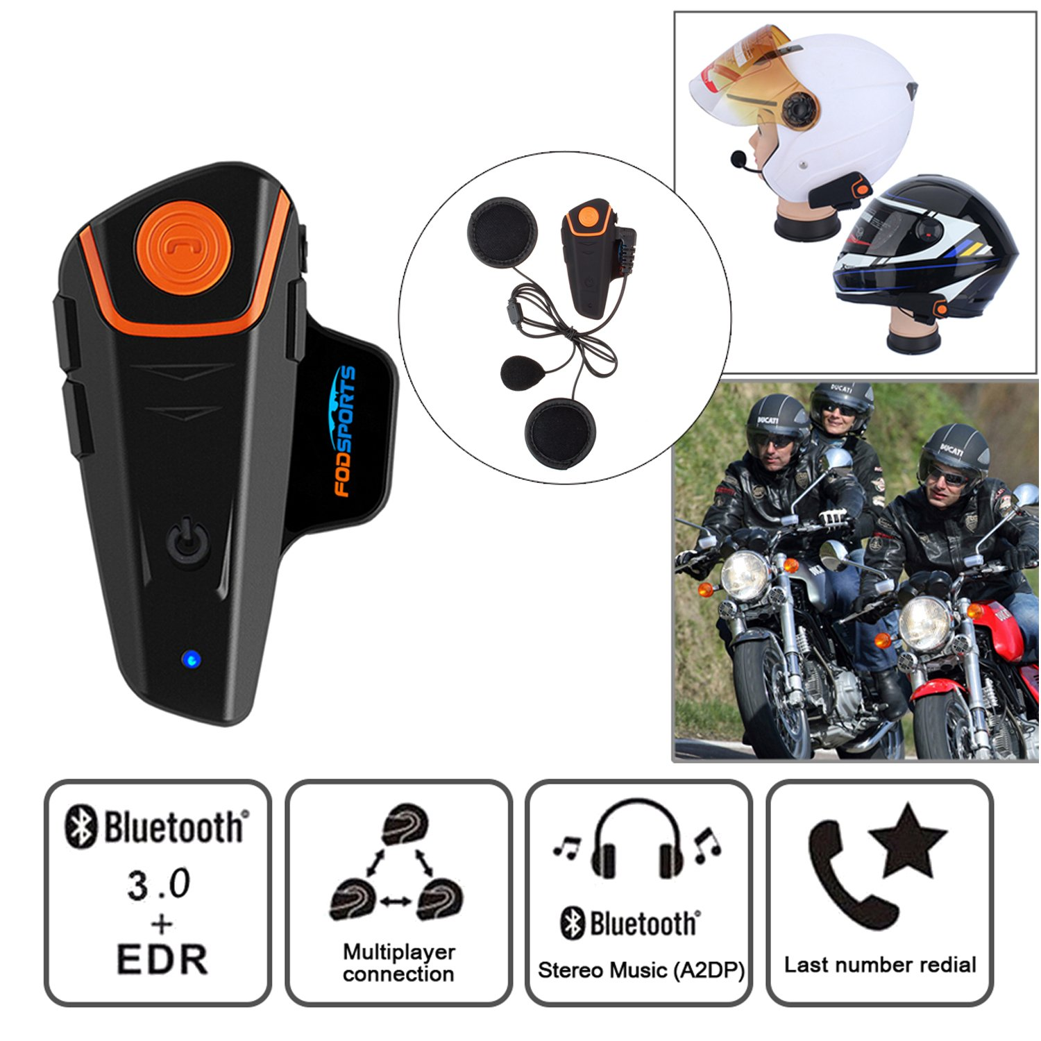 Fodsports BT-S2 Intercomunicador de Motocicleta Auricular Bluetooth Casco Sistemas de comunicación Kit Impermeable 1000M Interfono inalámbrico de Motos ...