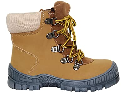 0d2ce06014d Foster Footwear Boys Kids Infant Tan Faux Leather Suede Hiker Lace Up Zip  Mountain Chukka Casual