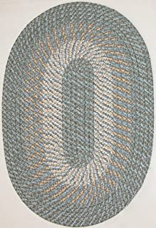 "product image for Plymouth 5' 6"" x 8' 6"" (66"" x 102"") Oval Braided Rug in Country Blue"
