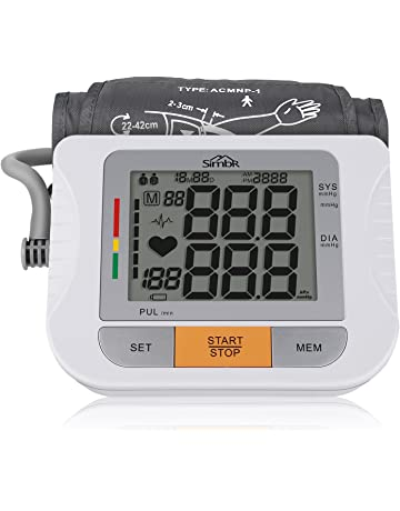 SIMBR Tensiómetro de Brazo Digital Monitor de Presión Arterial con Memoria (2 * 90)