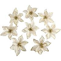 Amajoy, fiori finti con glitter, fiori ornamentali per Natale o per matrimoni, 12 pezzi, 14cm