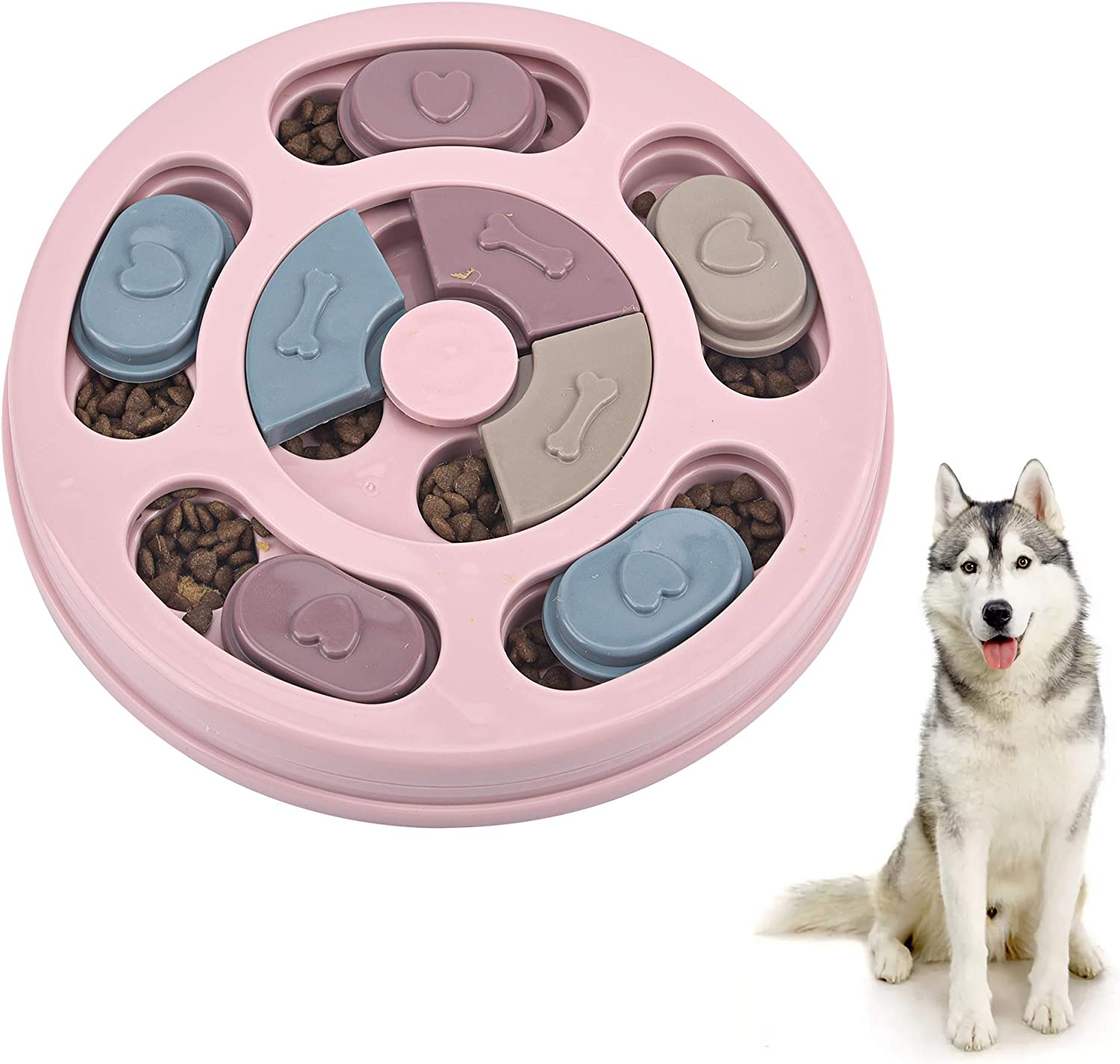 Interactive Dog Puzzle Slow Feeder,Seek-a-Treat Pet Food Dispenser,Stimulate IQ Brain Game Training Toys,Anti-Slip Slow Eat Dogs Feed Bowl for Beginner,Puppy,Small,Medium and Large Pets,Pink Round