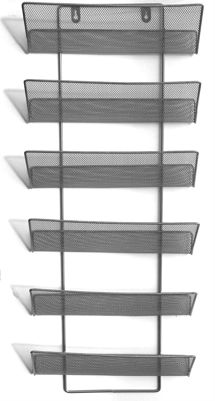 Shine Soporte de pared largo de 6 niveles para organizar literatura ...