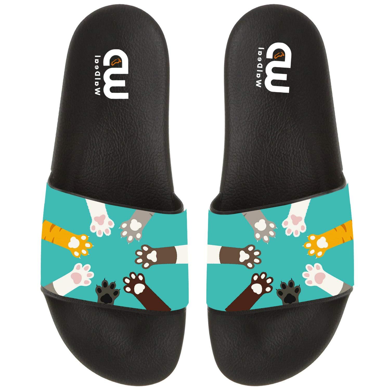 Cartoon Funny Cats Paws Print Summer Slide Slippers For Men Women Kid Indoor Open-Toe Sandal Shoes