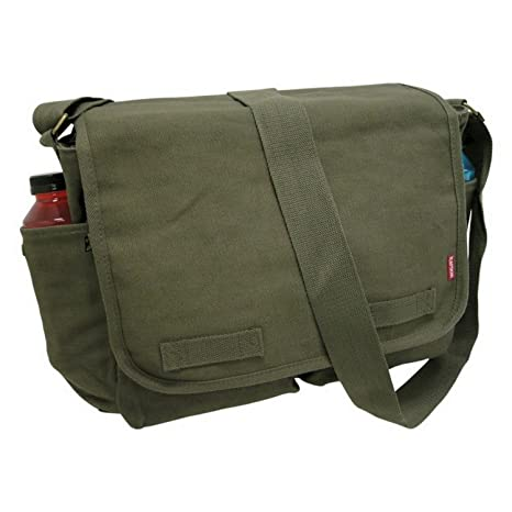 Amazon.com  Olive Green Heavyweight Military Inspired Messenger Bag ... 95cc3581a39