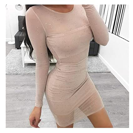 Amazon.com: Midress Women Mesh Lace Long Sleeve Bodycon ...