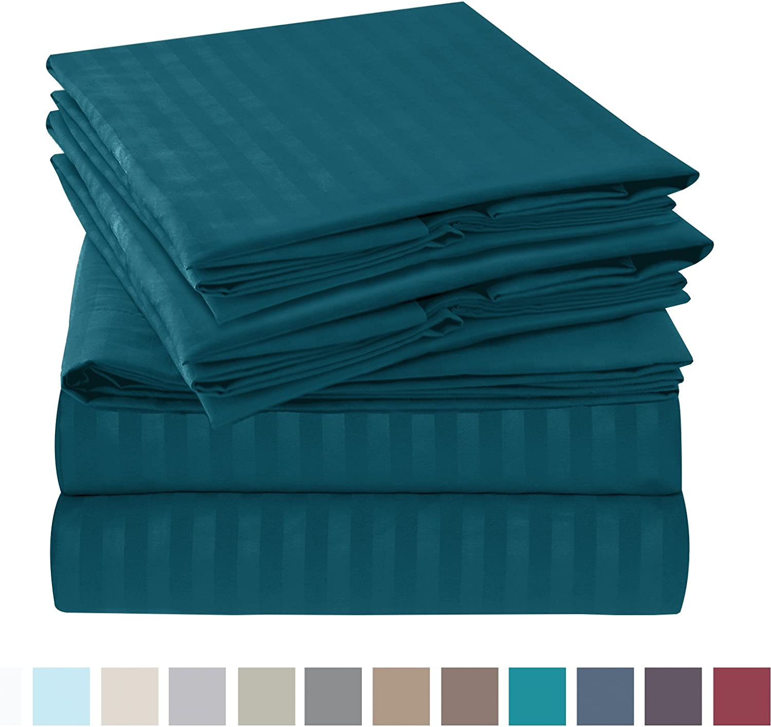 """Nestl Bedding Damask Dobby Stripe 6 Piece Set – 14""""-16"""" Deep Pocket Fitted Sheet – Ultra Soft Double Brushed Microfiber Top Sheet – 4 Hypoallergenic Wrinkle Free Cooling Pillow Cases, King - Teal"""